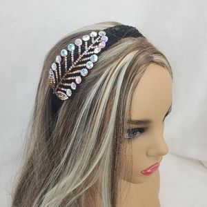 Yellow Holographic Crystal Black Lace Hair Band